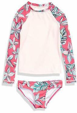 Kanu Surf Big Girls' Long Sleeve Rashguard Two Piece, Charlo