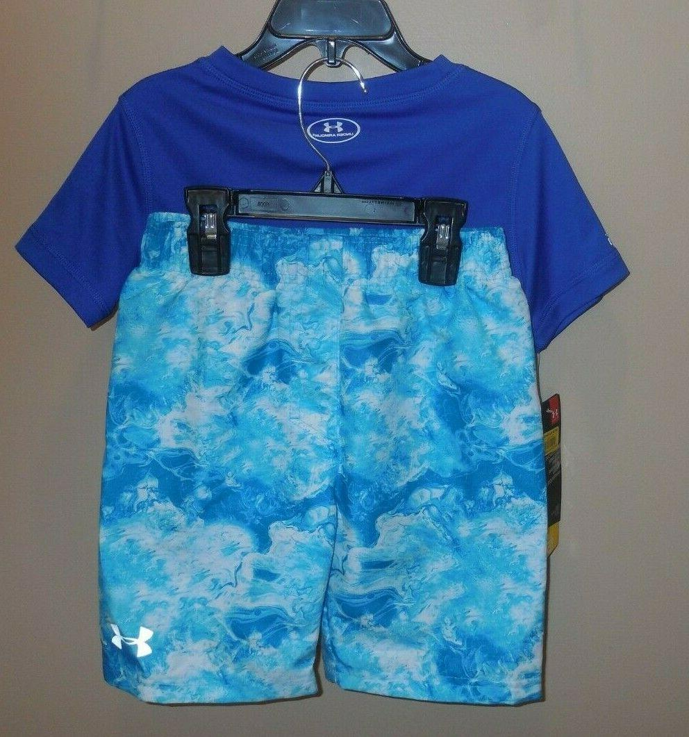 Under Armour Rash Shirt Top & Trunks Blue White New