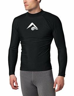Kanu Surf Men's Long-Sleeve Platinum UPF 50+ Rashguard Black