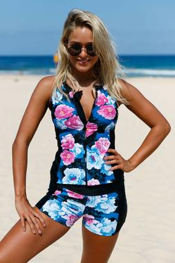 Women Floral Zip Front Tankini Swimsuit with Swim Shorts Sle