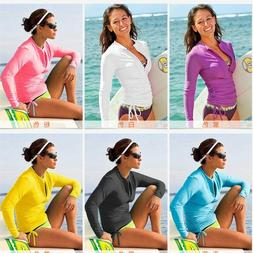 Women Long Sleeve Rashguard Swim Shirts Swimwear Lycra Surfi