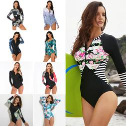 Women Long Sleeve Swimsuit One-Piece Rash Guard UV Protectio