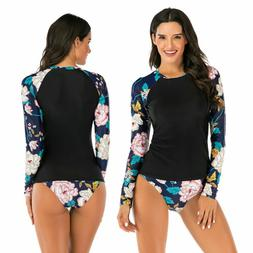 Women Long Sleeve Swimsuit Two-Piece Rash Guard UV Protectio