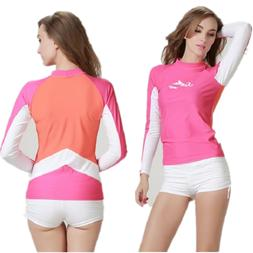 Women Rash Guard Top Shirt Long Sleeve Swimwear Female Swims