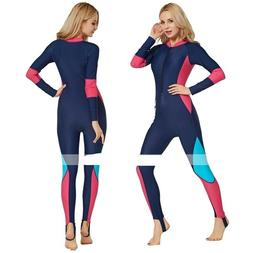 SBART Women's Blue Multi Rash Guard Dive Skin Suit Diving Fu