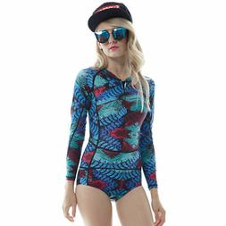 Sbart Women's One-piece Long Sleeve Swimwear Rash Guard Surf