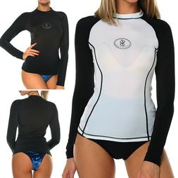 Womens Long Sleeve Rash Guard Swim Shirt SPF40+ Surfing Swim