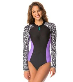 Speedo Womens Long Sleeve Swimsuit One-Piece Rash Guard Zip